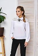 Блуза с кокеткой и брошью Жозе 40,42,44,46,48р