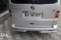 Защита заднего бампера (Углы d60mm) Volkswagen t5 (Фольксваген T5), нержавейка