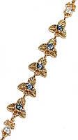 Браслет  женский фирмы  Хuping. Цвет:позолота. Камни:серо-голубой и белый циркон. Длина 18-20 см. Ширина 10 мм