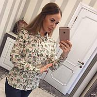 Женская рубашка на пуговицах с ярким принтом (темная и светлая)