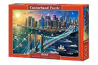 """Пазлы касторленд на 500 элементов. """"Нью-Йорк. Бруклинский мост"""". Полный ассортимент. Польша оригинал. Быстрая доставка. Гарантия качества."""