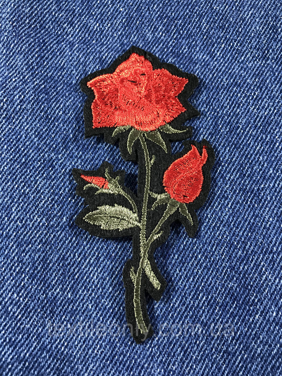 Нашивка Роза цвет красный темный лист s 48x100 мм