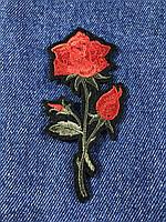 Нашивка Роза  цвет красный темный лист  s  48x98мм