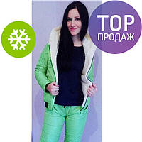 Женский зимний костюм на синтепоне, разные цвета / зимний спортивный костюм с мехом, стильный