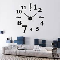 3D часы, настенные, большие, Чёрно-зеркального цвета \ Акриловые зеркальные декоративные наклейки