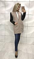 Пальто из кашемир на подкладке +  эко кожа, беж ! , фото 1