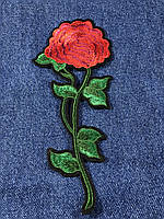 Нашивка Роза  красная 77x180 мм