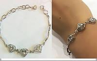 """Женственный серебряный браслет """"Бриллиант"""" с включением камней фионит"""