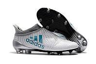 Мужские бутсы Adidas X 17+ Purespeed FG grey, фото 1