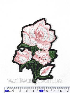 Нашивка Роза 4 бутона цвет розовый 71х110мм, фото 2