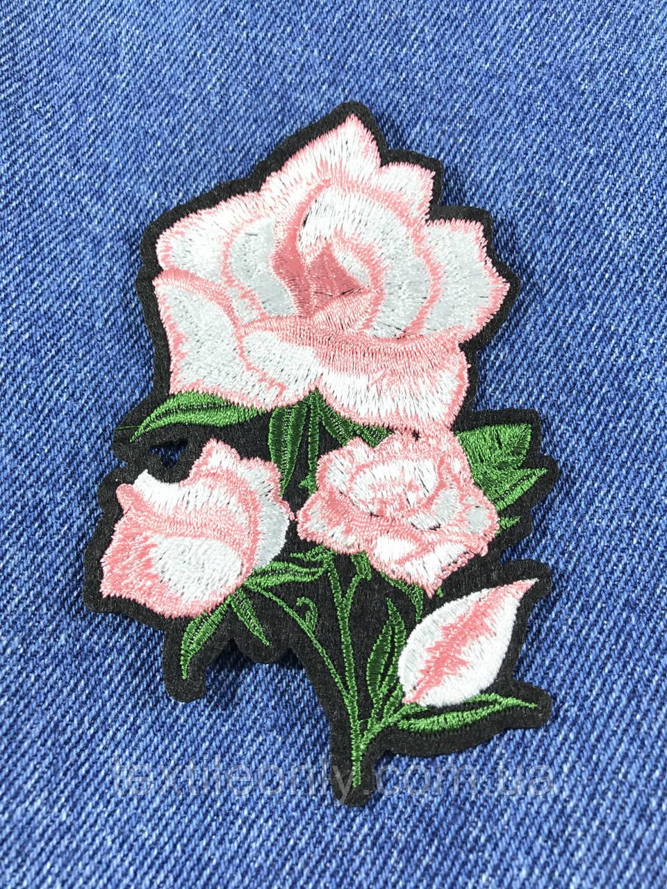 Нашивка Роза 4 бутона цвет розовый 71х110мм