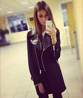 Пальто Mira из кашемира  на подкладке +  эко кожа, черное !