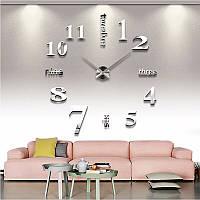 3D часы настенные, большие | Акриловые зеркальные декоративные наклейки