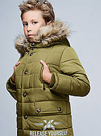 Стильная Зимняя Куртка для Мальчика Оливковая  Рост 116-168 см