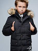 Стильная Зимняя Куртка для Мальчика Черная  Размер 40 (156-162 см) см