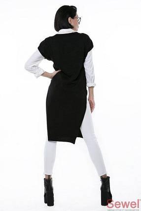 Черный длинный женский жилет, фото 2