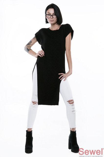 Черный длинный женский жилет