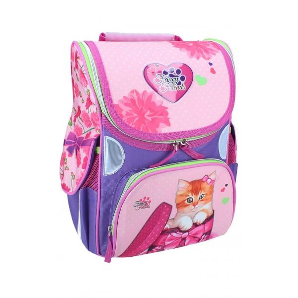 Рюкзак ранец школьный каркасный Kitty RAINBOW 7-504