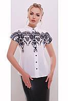 Белая блузка, из креп-шифона, с чёрным принтом, рукав реглан короткий, размер 44, 46, 48