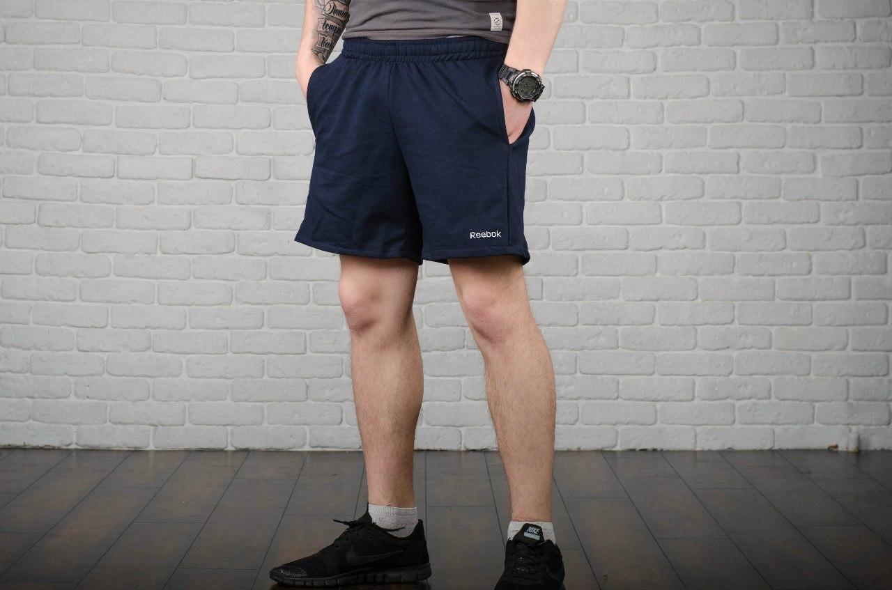 Шорты Reebok, мужские синие, лого вышивка, фото 1