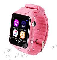 Детские часы с gps трекером V7K розовые с Камерой