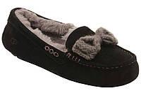 Женские зимние мокасины UGG Australia Ansley Knit Bow Water-Resistant Suede (Угги Австралия) с мехом черные