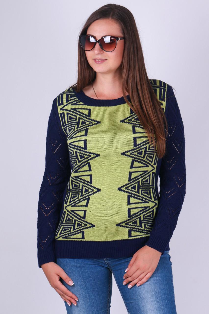 Легкий ажурный джемпер Скарлет синий-зеленый - FaShop  Женская одежда от производителя в Харькове