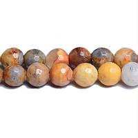 Марокканский Агат Граненый, Натуральный камень, На нитях, бусины 8 мм, Отверстие 1 мм, кол-во: 47-48 шт/нить