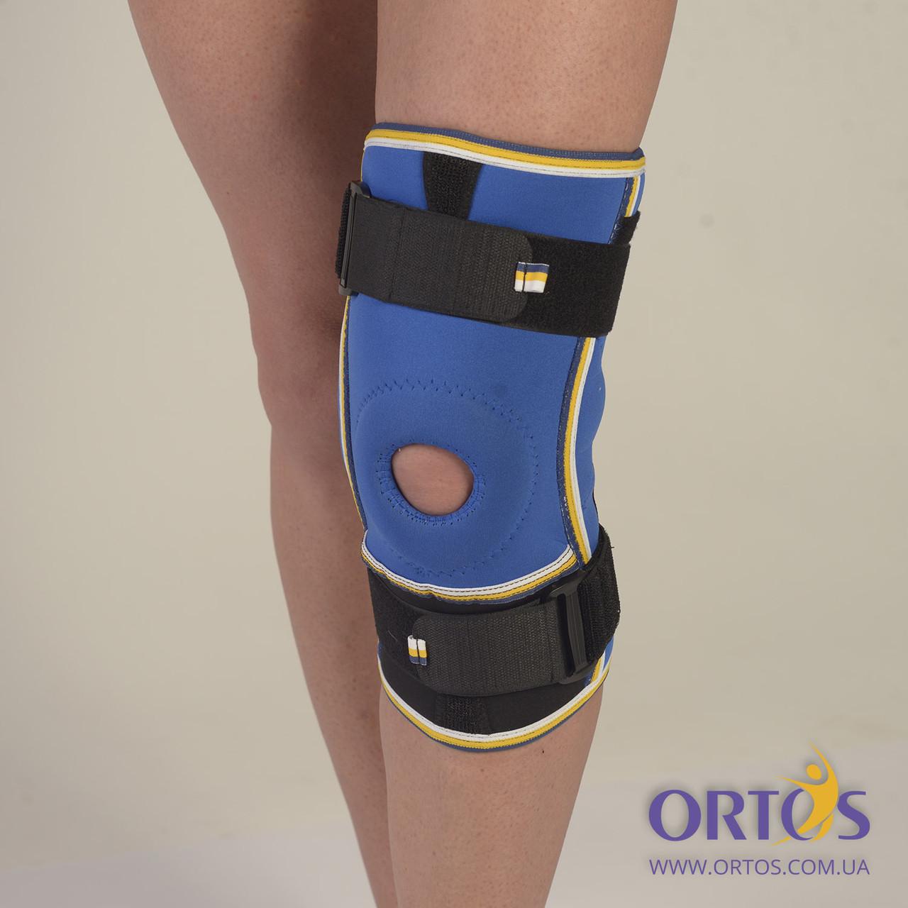 Бандаж коленного сустава с ребрами жесткости неопреновый Алком 4022