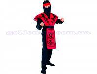 Карнавальный костюм Ниндзя в красном р.110-120/120-130/130-140см 881192