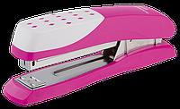Пластиковый степлер buromax bm.4233-10 Шахматка розовый на 20 листов (скобы №24; 26)