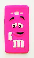 Чехол на Самсунг Galaxy A5 A500H M&Ms приятный Силикон Малиновый, фото 1