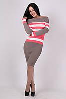 Теплое вязанное платье Памела капучино