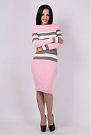 Платье  теплое вязанное Памела розовый