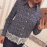 Красивая женская блузка с кружевом понизу (разные цвета)