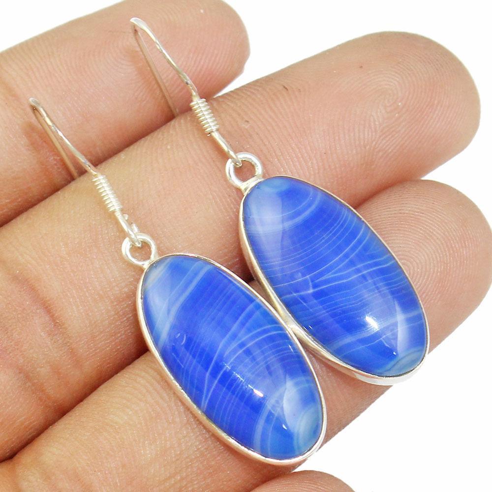 Агат синий Ботсвана, серебро 925, серьги, 394СА