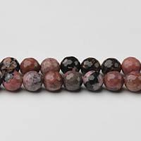 Родонит Черные Вены Грань, Натуральный камень, На нитях, 8 мм, Шар, Отверстие 1 мм, кол-во: 47-48 шт/нить