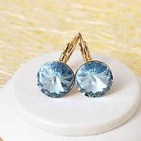 R2-4137 - Позолоченные серьги с кристаллом Swarovski Rivoli Aquamarine Crystal (Аквамарин)