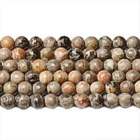 Яшма Ископаемая Грань, Натуральный камень, На нитях, бусины 8 мм, Шар, 48 шт/нить