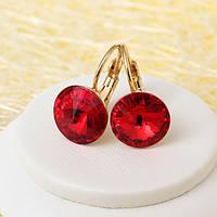 008-4139 - Позолоченные серьги с кристаллом Swarovski Rivoli Light Siam Crystal (Сиамский Красный)