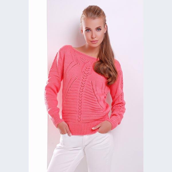c77dc03350c Вязаный свитер прямого кроя кораллового цвета купить в интернет ...