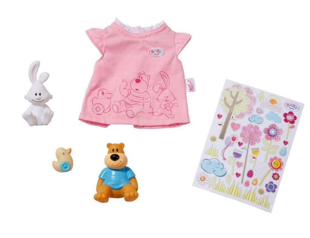 Одежда для кукол Беби Борн  футболка с наклейками и зверюшками Baby Born Zapf Creation 819616