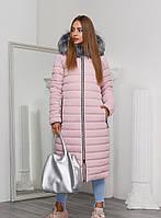 Теплая Зимняя Куртка Удлиненная с Капюшоном и Мехом Пудра