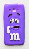 Чехол на Самсунг Galaxy Grand Prime G530H M&Ms приятный Силикон Фиолетовый, фото 1