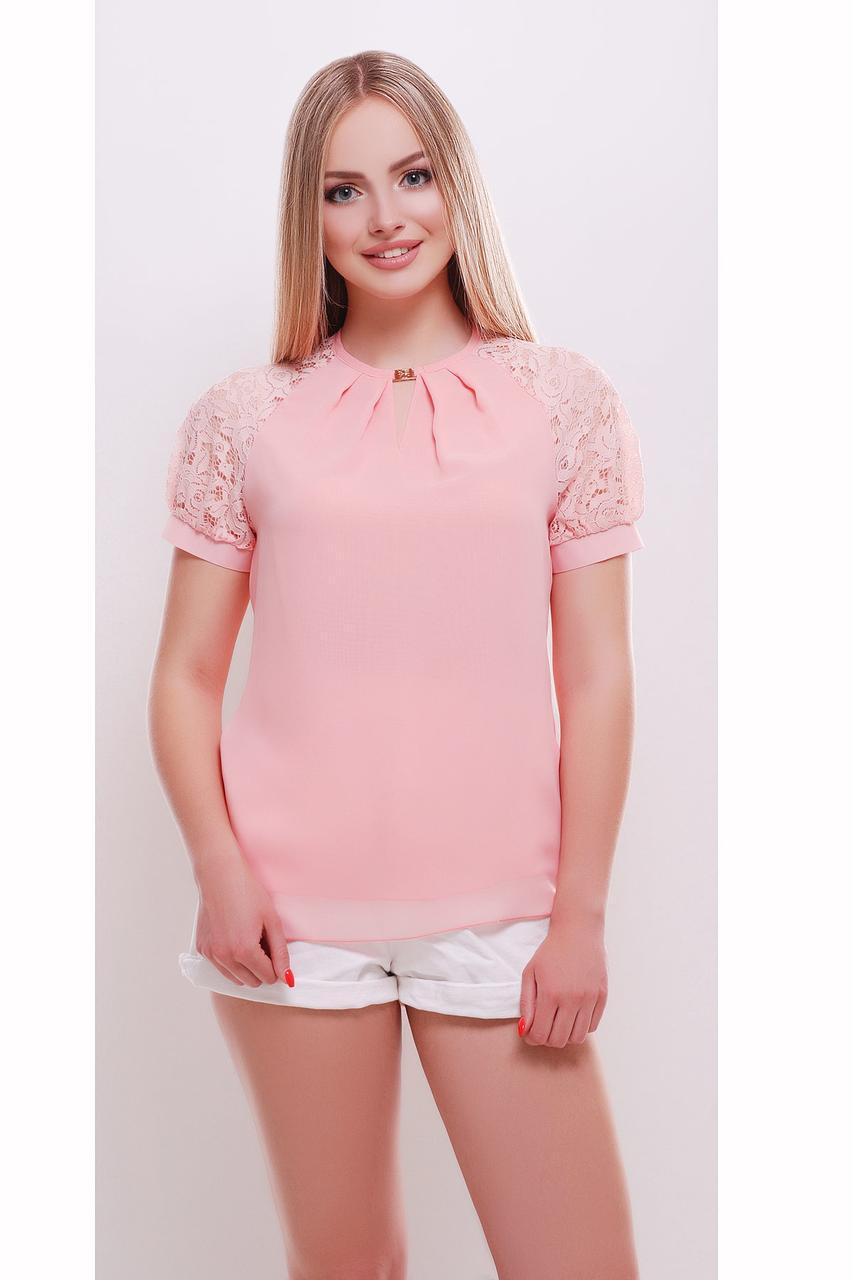 Женская блузка, персиковая, прямого фасона, шифон с гипюром