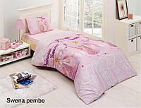 Полуторное детское постельное , хлопок ранфорс. Altinbasak (Турция), Swena pink- полуторный