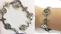 Серебрянный браслет унисекс  в стиле Луи Витон с цирконием и позолотой
