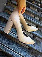 Шикарные кожаные туфли на устойчивом каблуке