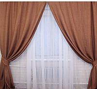Комплект готовых штор лён, фото 1