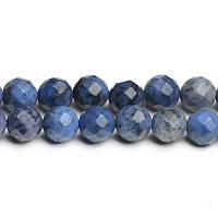 Дюмортьерит Граненый, Натуральный камень, На нитях, бусины 8 мм, Шар, 48 шт/нить